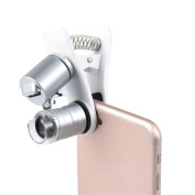 ALLCACA Universal Clip-on LED Cellphone Microscope Practical 60X Zoom Cellphone Microscope Magnifier Clip-on Cellphone Micro Lens with Practical Clamp, Suitable for Most Smartphones