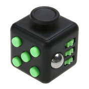 Black/Green Fidget Dice Toy 6 Sides Release Stress Anxiety and Relax Focus Attention Therapy Tool Hand Desk Fidget Toy Toy for Children and Adults by SamGreatWorld