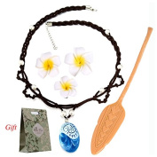 Movie Moana Dress Up Accessories for Girls,Moana Costume Necklace Gift Set,with Adventure Oar and 3pcs Flower Hairpins