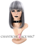 Chantiche Straight Short Bob Mixed Grey Wig Cheap Machine Made Synthetic Wigs UK with Bangs + Free Wig Cap