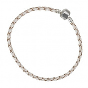 Cream Braided Leather Bracelet With Snap Clasp 22cm