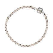 Cream Braided Leather Bracelet With Snap Clasp 21cm