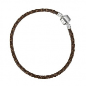 Brown Braided Leather Bracelet With Snap Clasp 21cm