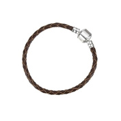 Brown Braided Leather Bracelet With Snap Clasp 16cm