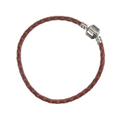 Braided Red Leather Bracelet With Snap Clasp 19cm