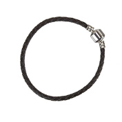 Braided Black Leather Bracelet With Snap Clasp 18cm