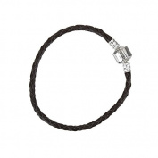 Braided Black Leather Bracelet With Snap Clasp 17cm