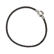Black Braided Leather Bracelet With Snap Clasp 20cm
