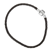 Black Braided Leather Bracelet With Snap Clasp 22cm
