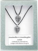 Cathedral Art LS102 Grandmother and Granddaughter Heart Lockets, Includes Two 46cm Satin Cords