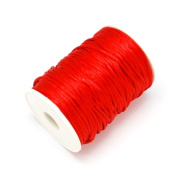 3M of 2mm Rattail Satin Nylon Cord Kumihimo - Bright Red / by bundle