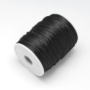 3M of 2mm Rattail Satin Nylon Cord Kumihimo - Black / by bundle