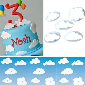 Dolland 5 Pcs Fluffy Fondant Cloud Plastic Cutter, Gum Paste Cutter,Cookie Cake Mould Fondant Cutter, Sugar Craft, Fondant Decorating Tools