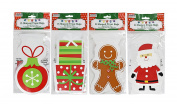 Set of 60 Christmas Cello/Cellophane/Loot Treat Bag w/Ties – 4 Holiday Designs!