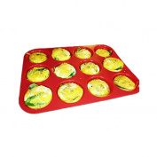 Dolland 12 Cup Silicone Muffin - Cupcake Baking Pan / Non - Stick Silicone Mould / Dishwasher - Microwave Safe, Red
