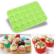 Fullfun 24 Cavity Mini Muffin Silicone Mould for Making Homemade Chocolate Peanut Butter Cup, Candy, Gummy, Jelly, and More