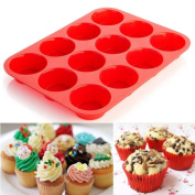 Cake Mould Kitchen Cookware Mould - Fheaven 12 Cup Silicone Muffin Cupcake Baking Pan Non Stick Dishwasher Microwave Safe