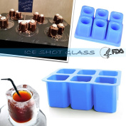 Ice Shot Glass Mould, [4Pcs] DiDaDi 6-cups Square Blue Ice Cube Tray, Jelly Tray, Cake Cup Mould, Food Grade Silicone Ice Shot Mould for Party New Year - Blue