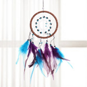 YiZYiF Hand Crafted Handmade Dream Catcher Net With Feathers Wall Hanging Decorations Rainbow Dreamcatcher Colourful One Size