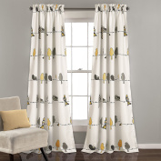 Lush Decor Lush Décor Rowley Birds Room Darkening Window Curtain Panel Pair, 210cm x 130cm + 5.1cm Header, Yellow and Grey