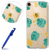 iPhone 6 Plus TPU Case,Clear Crystal Case for iPhone 6s Plus,MoreChioce Vintage Green Leaves Yellow Spots Pattern Transparent Flexible Gel Silicone Shell,Ultra Slim Shockproof Protective Case Back Cover Rubber Bumper for Apple iPhone 6 Plus / 6s Plus 5 ..