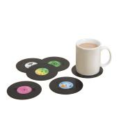 LAAT 6pcs Coasters Vinyl Retro CD Coaster Coffee Drink Cup Mat Table Top Mat