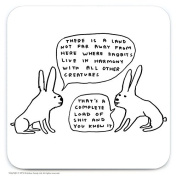 Official David Shrigley 'Live In Harmony' Funny Humorous Drinks Coaster