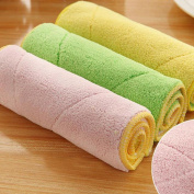 Turkey 1Pc High Efficient Anti Grease Cleaner Dish Cloth Bamboo Fibre Washing Towel Magic Duster Cloth Kitchen Cleaning Wiping Rags, Colour Random
