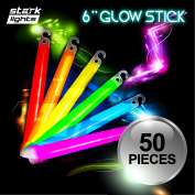50 Thick 15cm Glow Sticks Fat Party Necklaces Light Assorted Lanyard Favours Neon