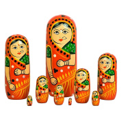 ITOS365 Hand Painted - Nesting Doll - Wooden Decoration Gift Doll - Stacking Nested Wood Dolls for Kids - Set of 9