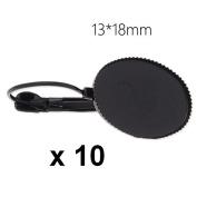 10 x Black 13x18 mm Cabochon Stud Earrings Earrings