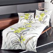 Janine Mako Satin Bed Linen Modern Art Design 42022 – 03 Yellow, 100% Cotton, yellow, 135 x 200 cm + 80 x 80 cm