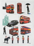 Iconic London Images - Large Cotton Tea Towel by Half a Donkey