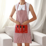 Yinew Cotton Linen Striped Kitchen Restaurant Bib Cooking Aprons with One Big Pocket,Red soldiers