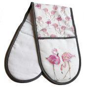 Flamingo Oven Gloves - Double Oven Glove - Sarah Boddy - 100% Cotton - Made in England