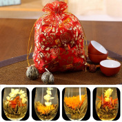 Twinkling Stars 10 Pcs Handmade Chinese Green Artistic Blooming Flowering Tea Ball Drinkable Artwork