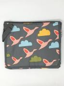 Pink Lining Rosebud Flying Geese Baby Changing Station/Portable Changing Mat - Grey
