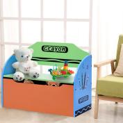 Costway Wooden Toy Storage Bench Chair Seat Box Book Chest Unit Organiser Kids Children