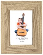Photo Frame, 6 x 4, Standard Photograph Size, Oak, Freestanding and Wall Mountable, 6x4 Picture Frame