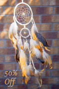 Handmade Native American Indian Dream Catcher with Feathers, For Kids, Bedroom, Wall Hanging Decor Craft, Two Circles 11cm and 5.1cm /Length 50cm - 60cm