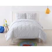 Laura Hart Kids Lhk-Comforterset Pleated Solid White Comforter Set, Full/Queen, White Pleated