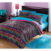 Girls Twin Zebra Rainbow Comforter Set. Includes Comforter and 1 Sham. This Gorgeous Twin Comforter Set Will Suit Your Teen, Girls and Adults Too.