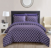Chic Home Brooklyn 6 Piece Reversible Duvet Cover Set Geometric Diamond Fretwork Pattern Print Bed in a Bag Zipper Closure - Sheets Decorative Pillow Sham Included, Twin Plum