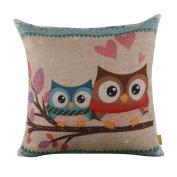 LINKWELL 46cm x 46cm inches Forest Cute Owl Design for Kid Room Decor Burlap Pillowcase Cushion Cover