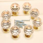 Surepromise 8pcs Crystal Clear Cut Door Knobs 30mm Kitchen Cabinet Drawer Handle + Screws