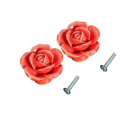 CSKB Red 2 PCS 40mm Vintage Rose Ceramic Door Cabinet Cupboard Knobs Round follow pattern Pull Handle Drawer Furniture Dresser bedrooms Wardrobe Home Hardware Perfect House-warming Gift
