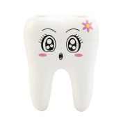 Tairacy Lovely Cute 4 Holes Tooth Style Cartoon Design Kid Bathroom Toothbrush Holder