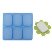 Beasea 6 Cavity DIY Rectangle Soap Moulds, Silicone Baking Mould Cake Pan Hand made Silicone Soap Making Tool with Flower Soap Holder Green
