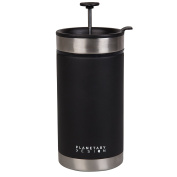 Steel Toe French Press Coffee Travel Mug with Brü-Stop Technology - 590ml - Stainless Steel with Non-Slip Texture - Obsidian Black