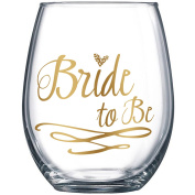 Bride To Be Stemless Wine Glass 590ml Give Gold to the Engaged Woman by Fine Occasion